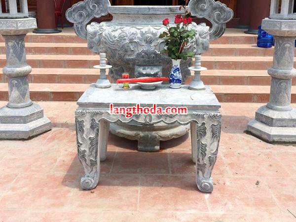 Bộ bàn lễ đỉnh hương, đèn đá đẹp