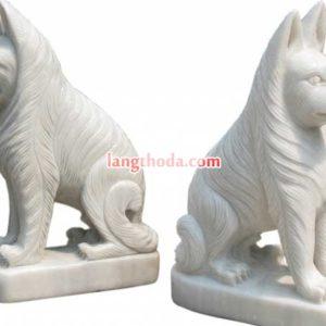 tượng chó đá trắng